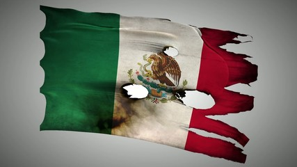 Mexican perforated, burned, grunge waving flag loop alpha