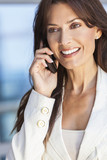 Happy Woman or Businesswoman Talking on Cell Phone