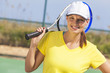 Happy Girl Young Woman Playing Tennis