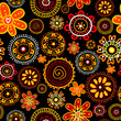 Floral doodle seamless on black background