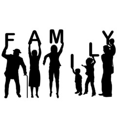 Family concept with children and parents holding letters of the