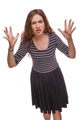 woman angry waving her hands isolated white background