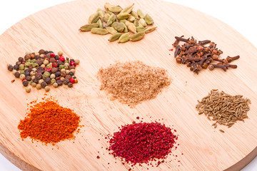 Spices on the kitchen board