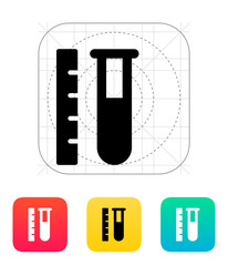 Test tube with ruler icon. Vector illustration.
