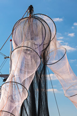 New unused fishing nets in Holland