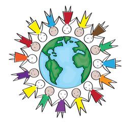 Children around the world in white background