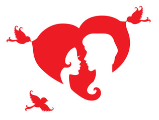 Silhouettes of couple in a heart.