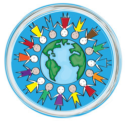 Children around the world in the blue circle