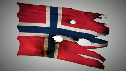 Norwegian perforated, burned, grunge waving flag loop alpha