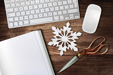 snowflake scissors desk