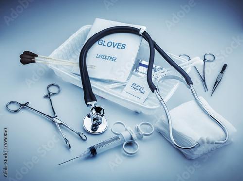 Leinwanddruck Bild Medical instruments for ENT doctor on pale blue