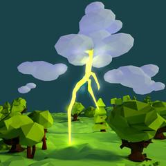 Kleine Landschaft mit Blitz und Gewitterwolke