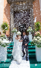 Married couple while exit from the church