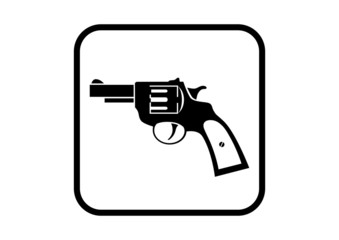 Revolver vector icon on white background