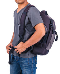 Man Traveler with backpack