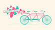 Together forever - vintage tandem bicycle with hearts balloons - 75951816