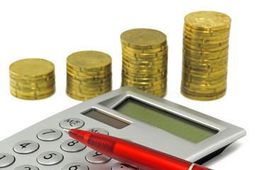 münzen mit taschenrechner