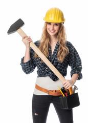 Frau mit Vorschlaghammer