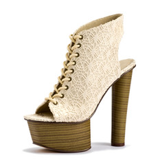 Fashionable Beige Woman Shoe with High Heel