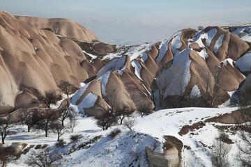 the snowy mountains of Cappadocia , Turkey