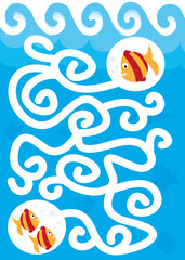 find the way - fish maze for children/ vectors