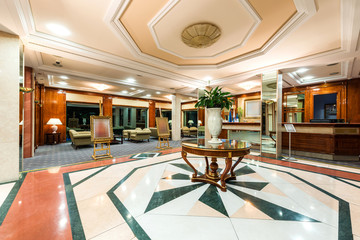 Hotel lobby and cafe interior