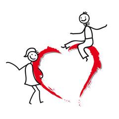Verliebtes Paar mit rotem Herz beim Flirten