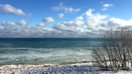 Ice chunks forming on Lake Michigan Milwaukee Wisconsin HD 1080