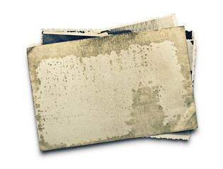 Stack of old photos with clipping path