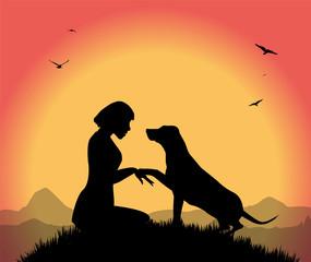 silhouette di ragazza con il suo cane