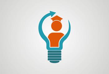 Lamp graduate sucsess logo vector
