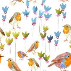 pencil sketch seamless pattern with flowers and bird