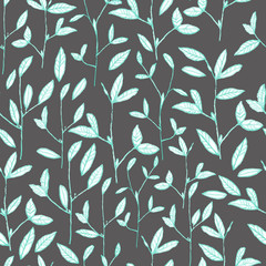 pencil sketch seamless pattern with branches of flowers