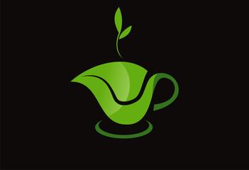 Teapot green leaf logo vector