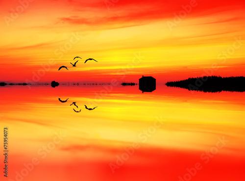 In de dag Oranje eclat la casita del lago