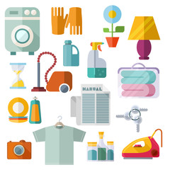 Housekeeping Flat Design Icons On White Background