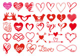 Heart and love, big vector set poster