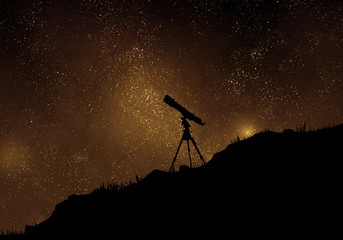 Starry night with silhouette of telescope