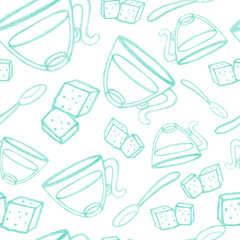 pencil sketch seamless pattern with tea