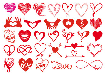 Heart and love, big vector set