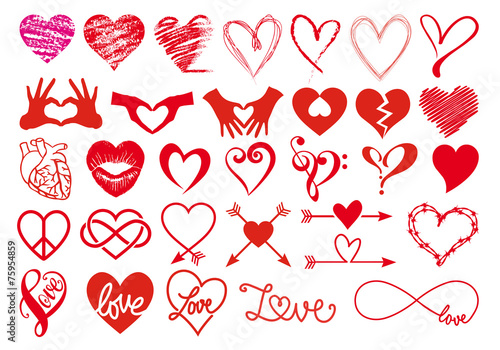 Heart and love, big vector set - 75954859