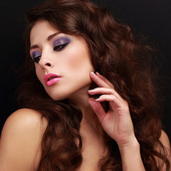 Beautiful makeup woman with blue eyeshadows