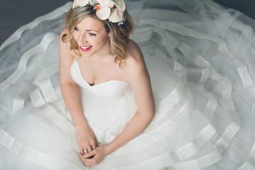 Elegant bride in a full skirted gown