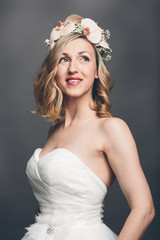 Elegant pretty bride with flowers in her hair