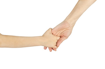 child and adult female hands holding each other isolated over wh