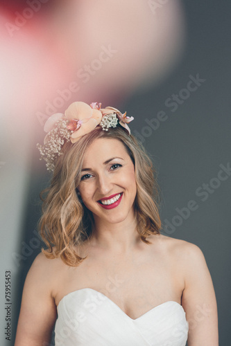 canvas print picture Smiling happy bride with a sweet tender expression