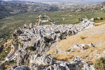 Panoramic view of the town of Zuheros, Cordoba (Spain)