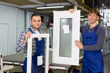 PVC profiles and windows production at modern factory