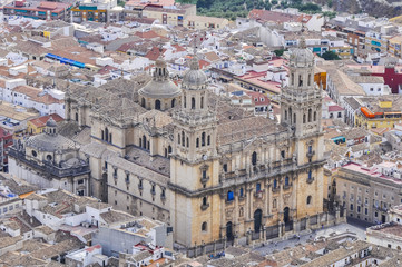 Cathedral of Jaen seen from Santa Catalina castle (Spain)