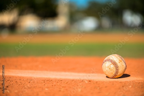 Baseball on Pitchers Mound - 75955601